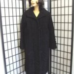 ブラック ペルシャンラム&スエード毛皮コート サイズ10